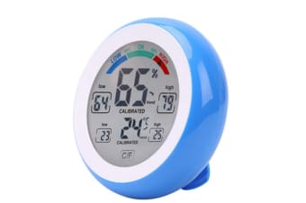 Select Mall Touch Screen Thermometer Round Home Digital Display Hygrometer Indoor Humidity Indoor Thermometer-Blue