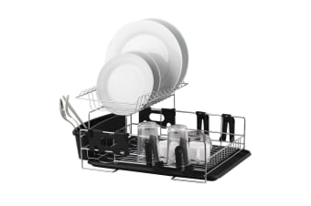 Stainless Steel Dish Cup Drying Rack Drainer Tray Cutlery Holder Organiser