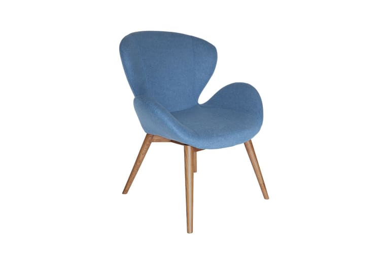Replica Arne Jacobsen Swan Chair | Blue Fabric | Walnut Legs