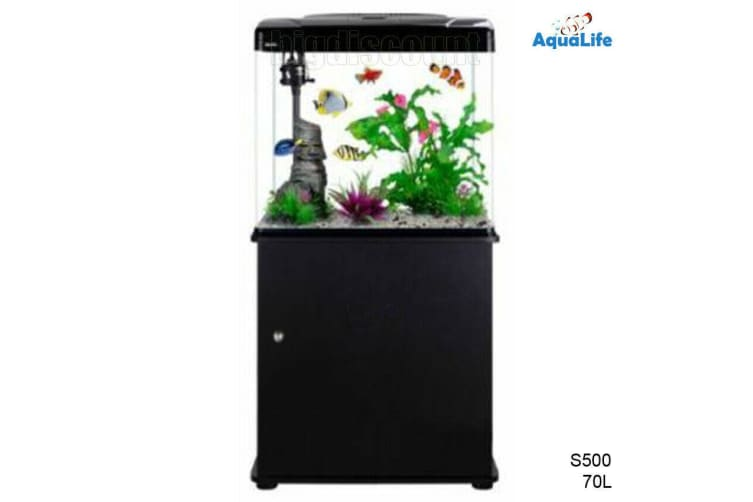 70L Fish Tank Aquarium Curved Glass Filter Pump Light With Cabinet Stand