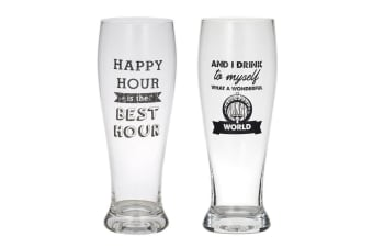 2pc Giftworks 550ml Beer Drinking Glass Barware - Happy Hour & I Drink To Myself