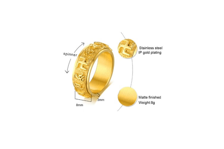 Religious Buddhist Mantra Character Titanium Steel Ring - Gold Gold 12
