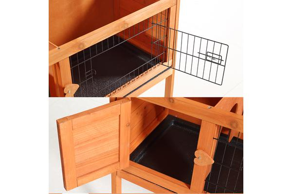 Slide-out Wooden Rabbit Hutch Chicken Coop Guinea Pig Cage