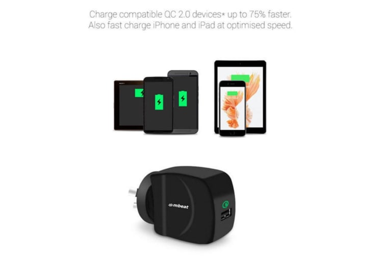 GorillaPower QC Wall Charger Quick Charge 2.0 USB for Android/iPhone/iPad/Tablet