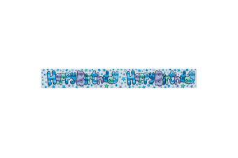 Expression Factory Holographic Blue Happy Birthday Foil Party Banner (Blue)
