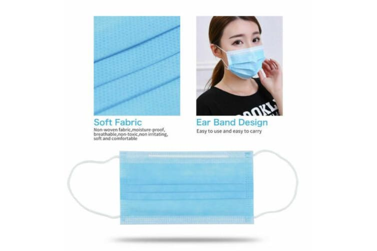 100Pcs Disposable Face Mask 3 layer Meltblown Filter for General Purpose