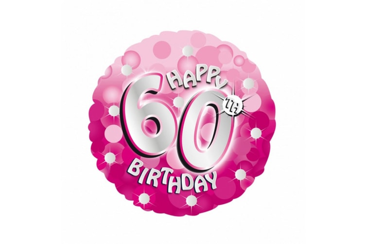 Amscan 18 Inch Pink Happy 60th Birthday Circular Foil Balloon (Pink) (One Size)