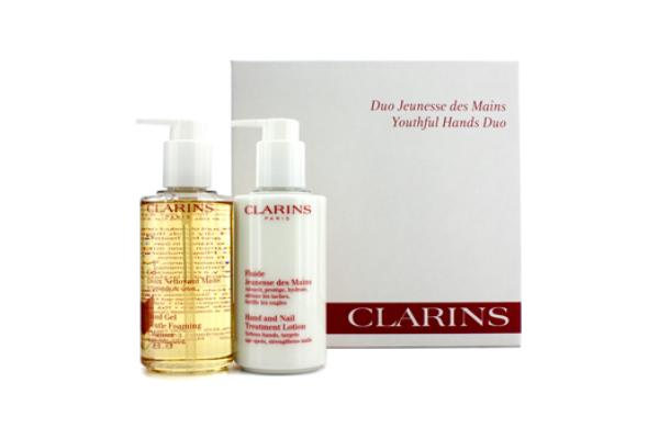Clarins Youthful Hands Duo: Hand Gel Cleanser 200ml + Hand & Nail Treatment Lotion 200ml (2pcs)
