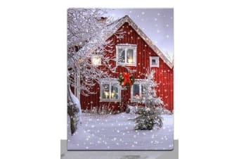 Light Christmas Canvas X'mas LED light up 30x40 House/Candle Picture Wall - House