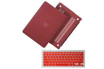 "Marble Frosted Matte Hard Case with Free Keyboard Cover for MacBook Pro 13"" 2016-2018 A1706 A1989 (With Touch Bar)-Matte Wine Red"