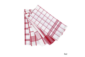 Set of 5 Checkered Cotton Tea Towels Red by IDC Homewares