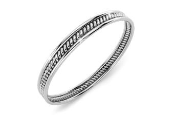 .925 Oxidized Twisted Line Stackable Ring  Size US 7