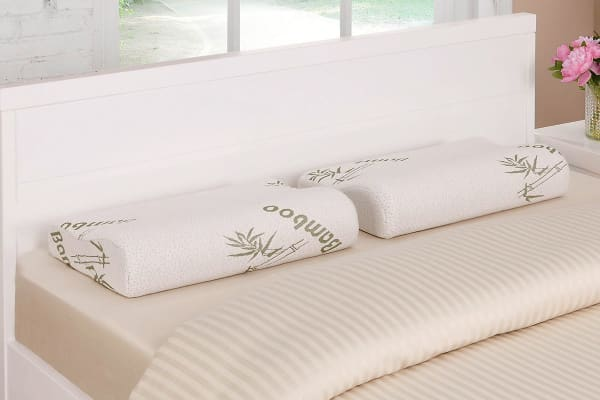 Ovela Set of 2 Bamboo Memory Foam Contoured Pillows