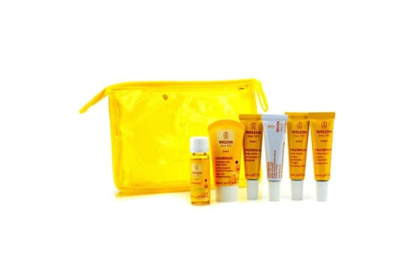 Weleda Baby On-The-Go Travel Kit: Body Wash 20ml/0.68oz+Face Cream 10ml/0.34oz+Body Cream 10ml/0.34oz+Baby Oil 10ml/0.34oz... (6pcs+1bag)