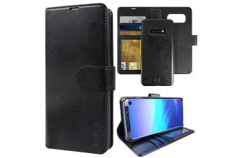 ZUSLAB Galaxy S10e Genuine Leather Detachable Case with Credit Card Holder Slot Wallet for Samsung - Black