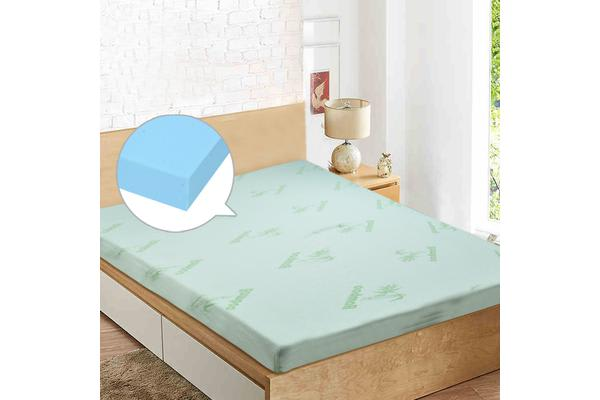 COOL GEL Memory Foam Mattress Topper BAMBOO Fabric Cover King Size