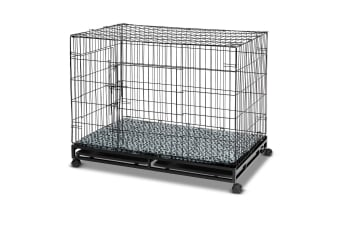 42in Metal Pet Cage Dog Kennel with Wheels