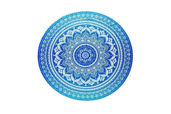 TODO Luxury Edition Chiffon Digital Print Beach Throw Yoga Towel Mat Blue