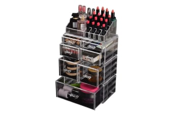 Cosmetic 7/8//9/10/11 Drawer Makeup Organizer Storage Jewellery Box Acrylic  -  7 Drawers(B)