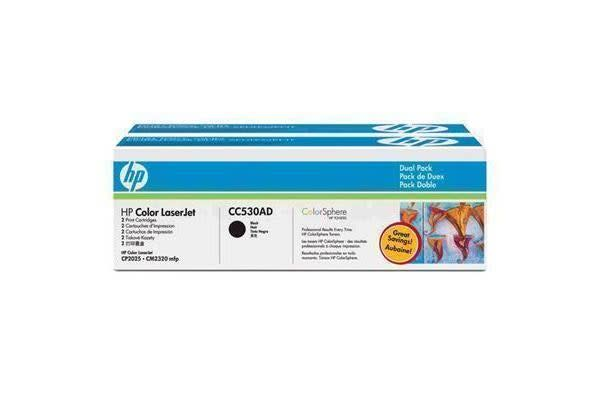 HP Toner CC530AD Black Dual pack (3500 pages x 2)