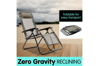 Zero Gravity Reclining Deck Camping Chair - Beige