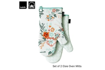 Set of 2 - Elsie Cotton Kitchen / BBQ Oven Mitts by Ladelle