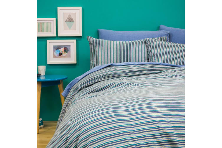 Bambury BedT Quilt Cover Set - 100% Cotton Jersey - Capri Stripe Blue - Double