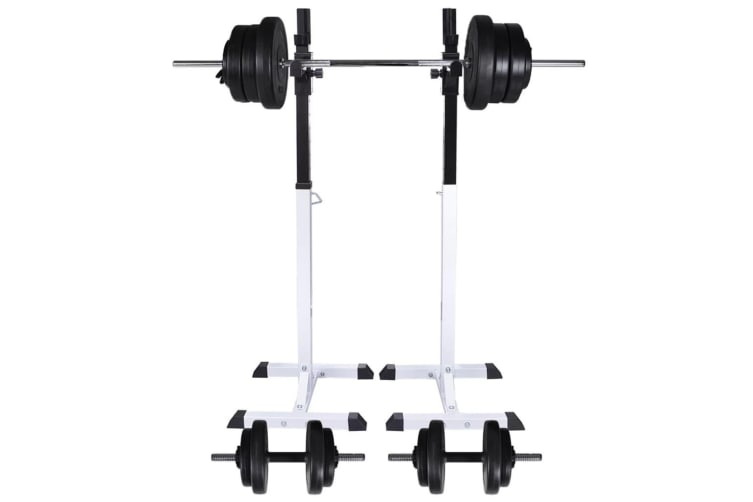 vidaXL Barbell Squat Rack with Barbell and Dumbbell Set 60.5 kg