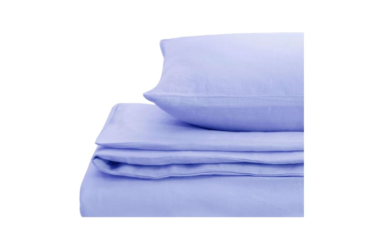 Natural Home Linen Quilt Cover Set Double Bed BLUE