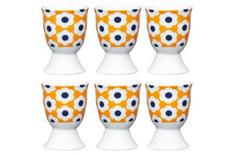 6pc KitchenCraft Retro Flower Spot Boiled Egg Cup Holder Stand Tableware Serving