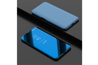 Mirror Cover Electroplate Clear Smart Kickstand For Oppo Series Blue Oppo R15