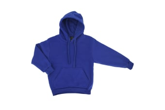 Kids Unisex Basic Pullover Hoodie Jumper School Uniform Plain Casual Sweat Shirt - Royal Blue - Royal Blue