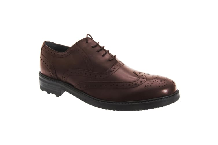 Roamers Mens 5 Eyelet Brogue Oxford Leather Shoes (Oxblood) (9 UK)