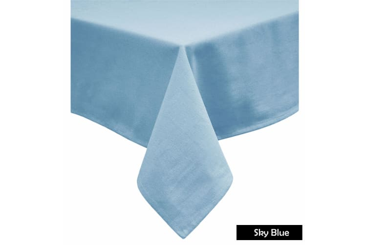 Cotton Blend Table Cloth Sky Blue 180cm Round