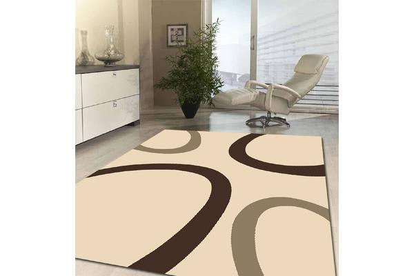 Uber Cool Cream and Grey Swish Rug 230x160cm