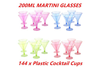72 x 200ML COLORED DISPOSABLE PARTY PLASTIC COCKTAIL MARTINI GLASS CUPS WEDDING EVENT