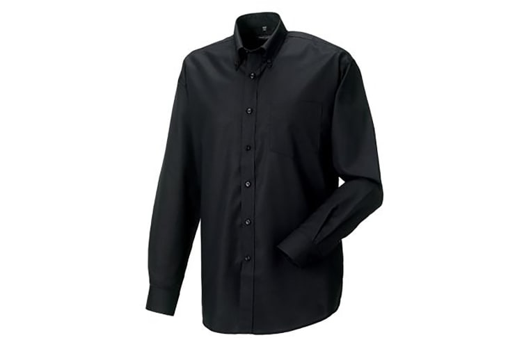 Russell Collection Mens Long Sleeve Easy Care Oxford Shirt (Black) (15inch)