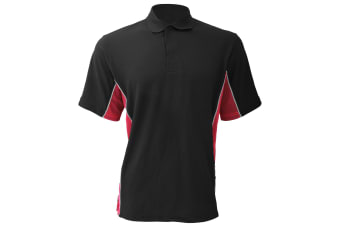 Gamegear® Mens Track Pique Short Sleeve Polo Shirt Top (Black/Red/White)