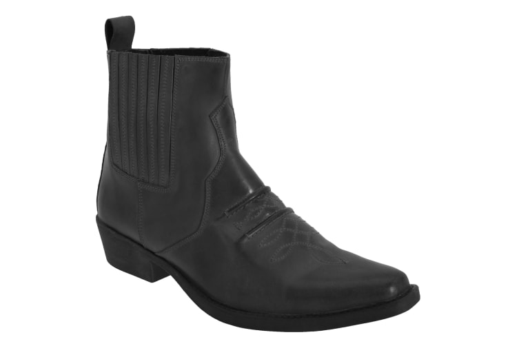 Woodland Mens Distressed Leather Gusset Western Ankle Boots (Black) (12 UK)
