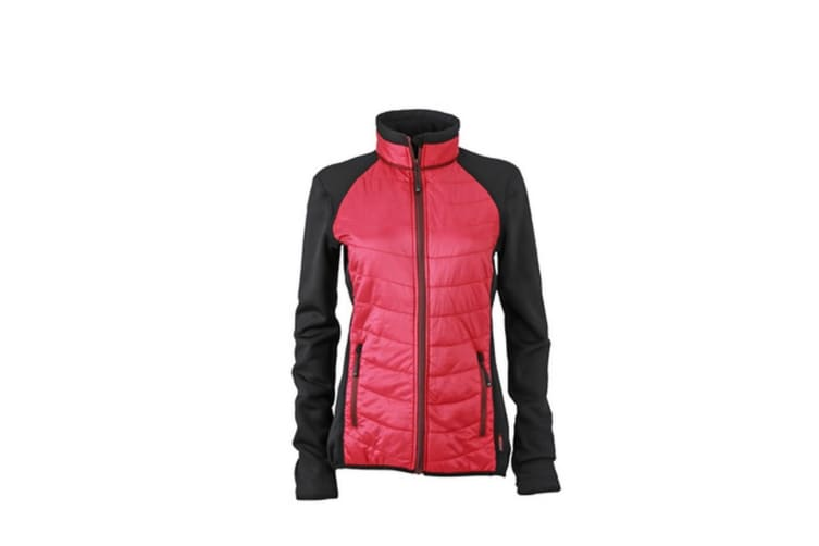 James and Nicholson Womens/Ladies Hybrid Jacket (Black/Berry/Maroon) (M)