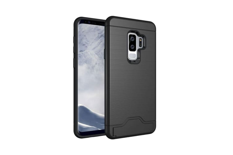 For Samsung Galaxy S9 PLUS Case Brushed Texture Cover with Card Holder Black