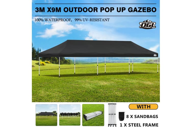 OGL Outdoor Gazebo 3x9m Event Party Wedding Pop Up Canopy Tent Marquee - Black