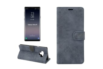 For Samsung Galaxy Note 9 Case Wallet Sheep Texture Leather Cover Dark Blue