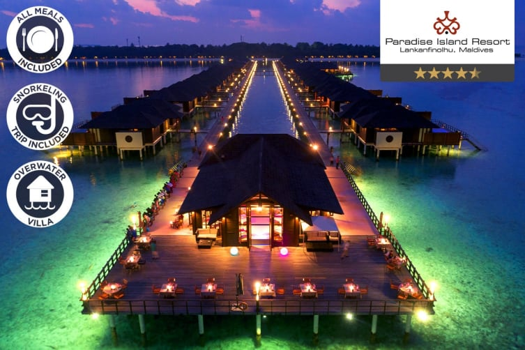 MALDIVES: 5 Nights Full Board Overwater Villa at Paradise Island Resort for Two
