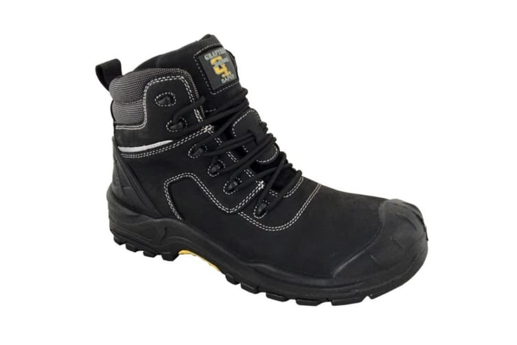 Grafters Mens Leather Laced 6in Safety Boot (Black) (13 UK)