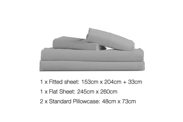4 Piece Microfibre Sheet Set (Queen/Grey)