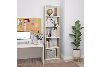 vidaXL Book Cabinet/Room Divider White and Sonoma Oak 45x24x159 cm Chipboard