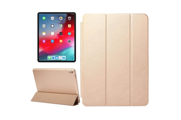For iPad Pro 12.9 Inch (2018) Case Solid Color PU Leather Folio Cover Gold