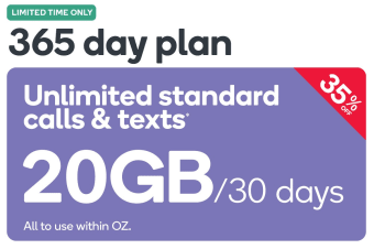 Kogan Mobile Prepaid Voucher Code: LARGE (365 Days | 20GB Per 30 Days) - April Promotion