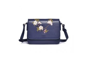 Fable Womens/Ladies Blossom Embroidered Crossbody Bag (Navy)